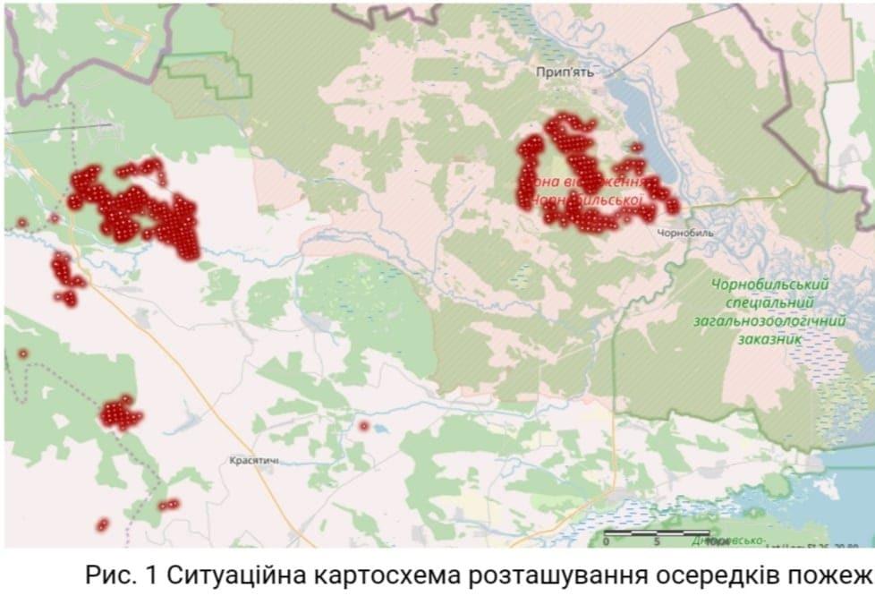 Дані про пожежі у Чорнобильській зоні відчуження