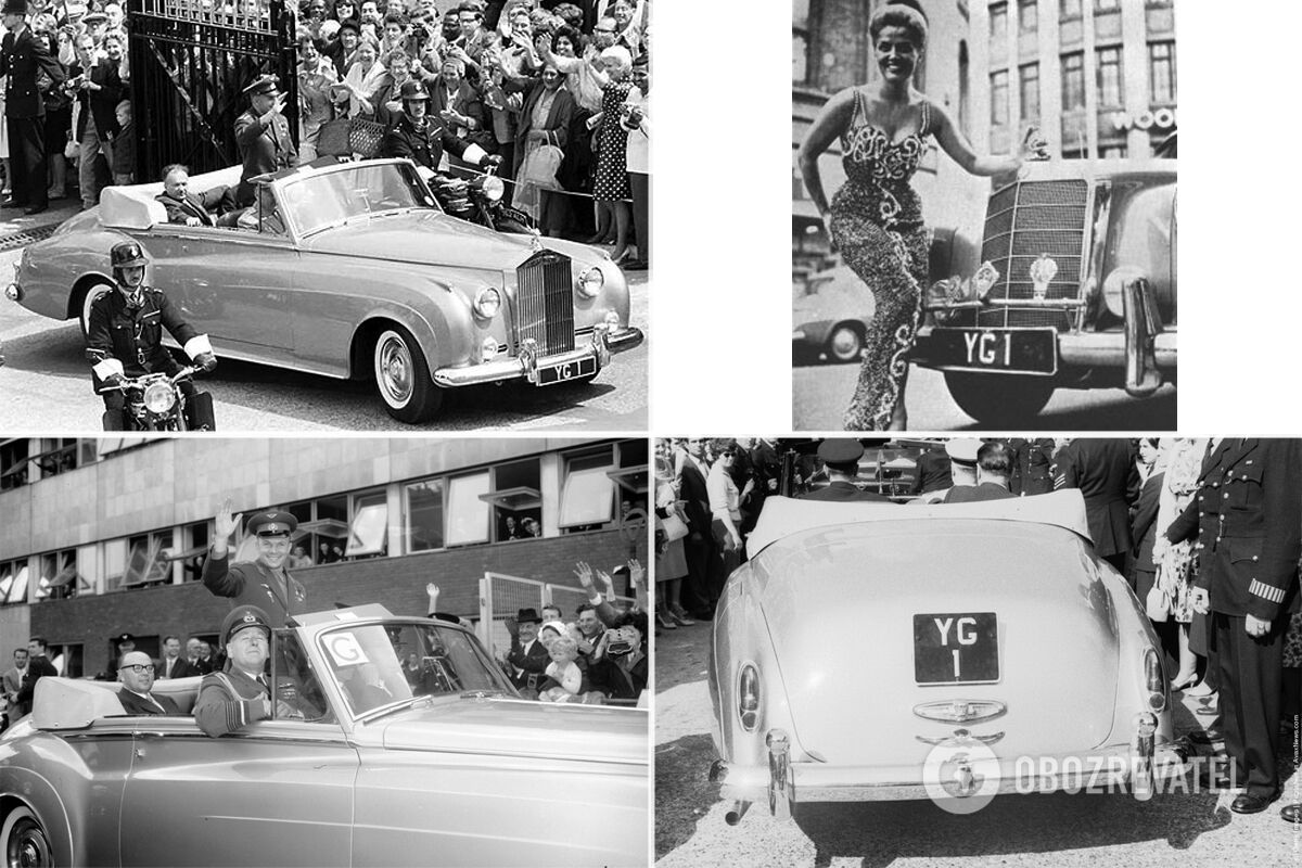 """Во время визита в Великобританию Гагарин использовал несколько авто, в том числе Rolls-Royce Silver Cloud II, а """"именные"""" номера для машины """"одолжили"""" у певицы и модели Яны Гард (Yana Guard)"""