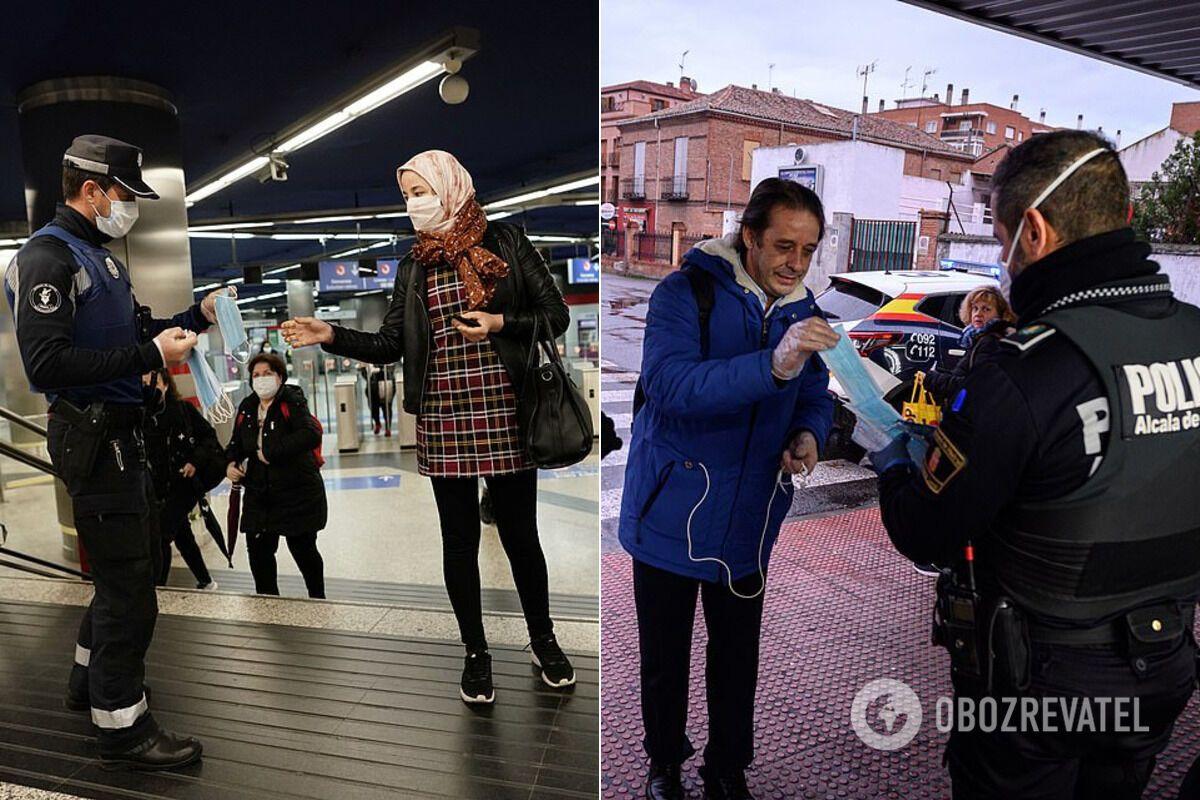 В Испании людям раздают маски в транспорте