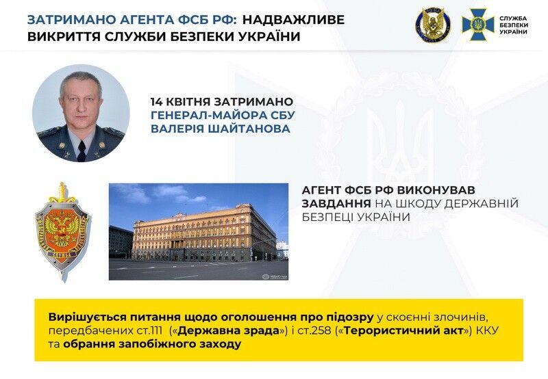 Задержан генерал-майор СБУ, готовивший теракты в Украине по указанию Москвы