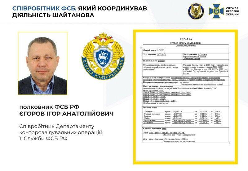 Полковник ФСБ Ігор Єгоров – працівник департаменту контррозвідувальних спецоперацій (1-ї служби) ФСБ РФ