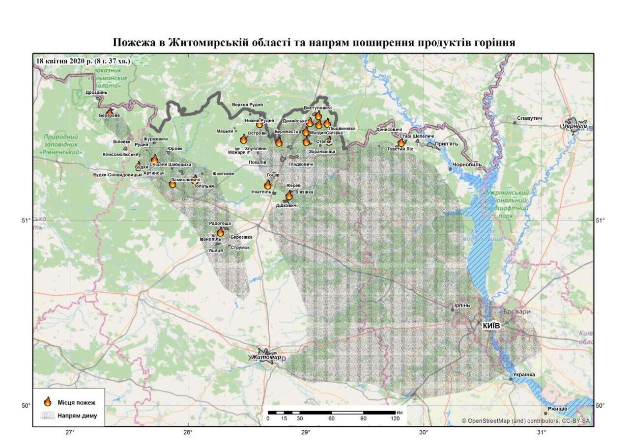 """""""Справимся!"""" В МВД показали карту пожаров на Киевщине и Житомирщине"""