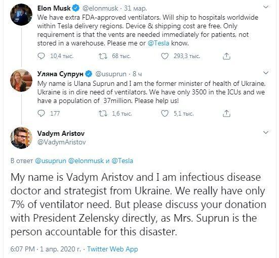 """""""Обсудите с Зеленским"""": Маска попросили не помогать Супрун"""