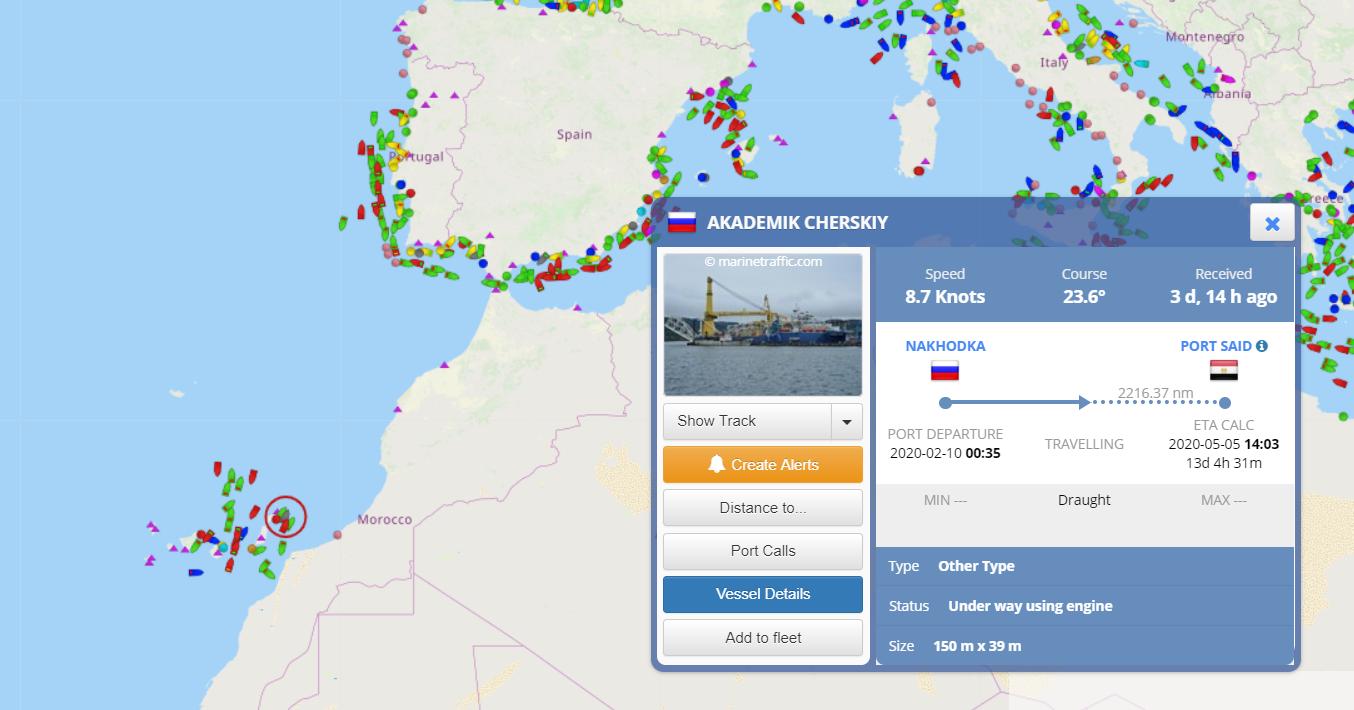 Данные о движении судна