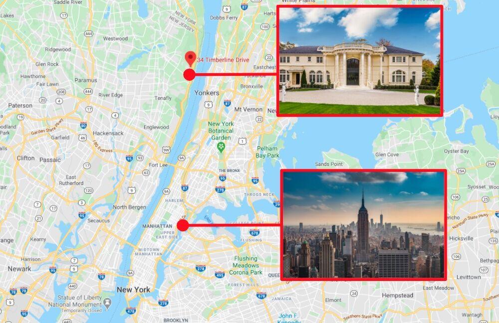 Особняк телеведучої і центр Нью-Йорка на мапі