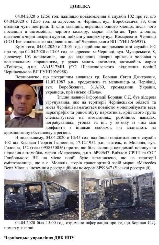 """В Черновцах в перестрелке убит лидер банды наркоторговцев """"Пача"""""""