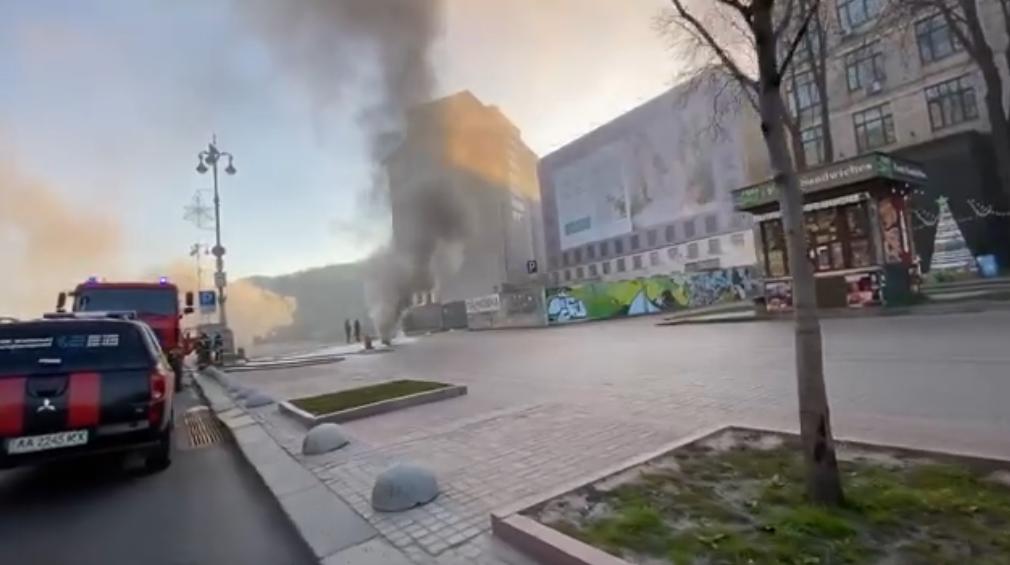 Пожар в центре Киева