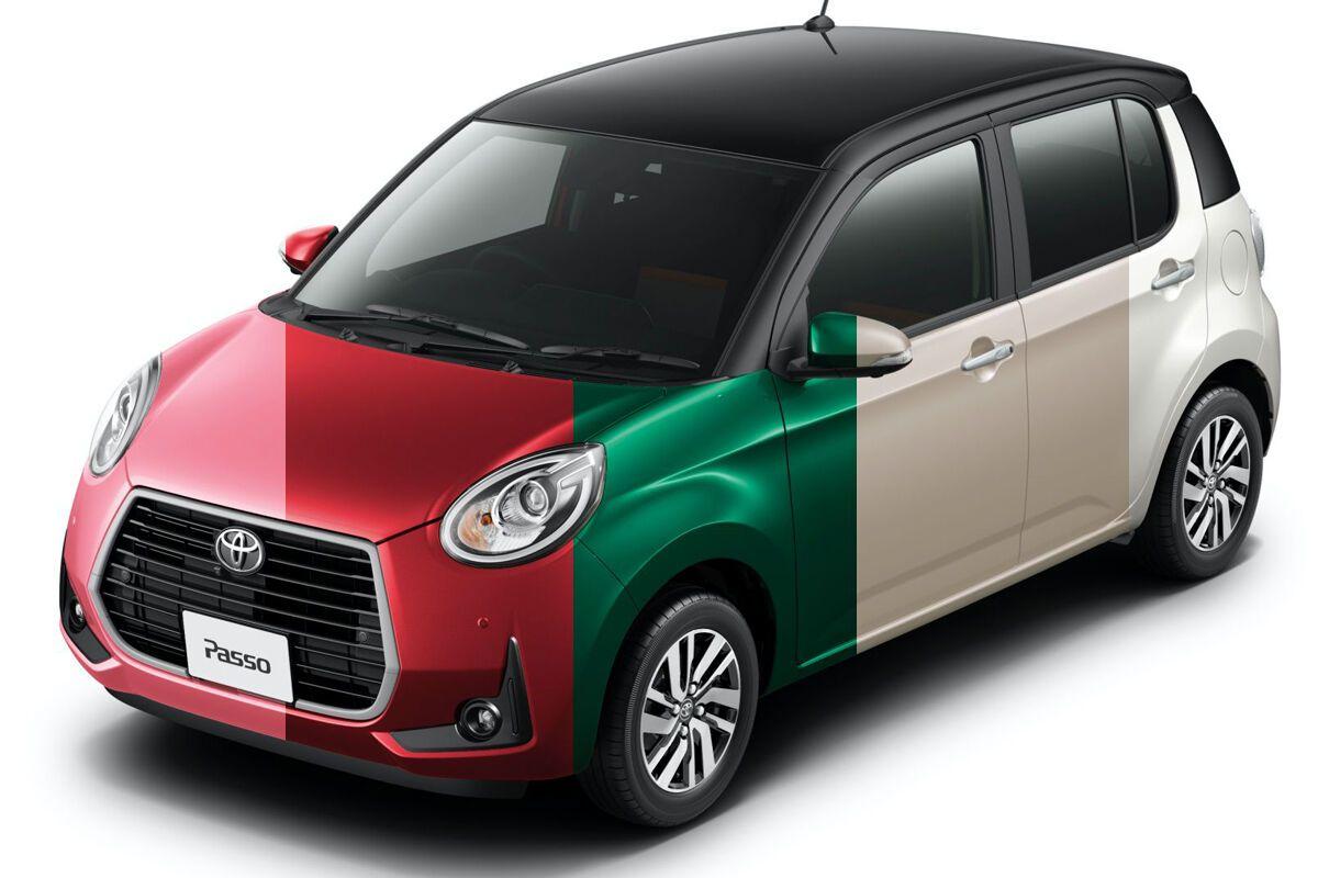 Всего Toyota Passo Moda Charm предлагается 5 цветов, причем крышу можно заказать в контрастном черном или белом цвете