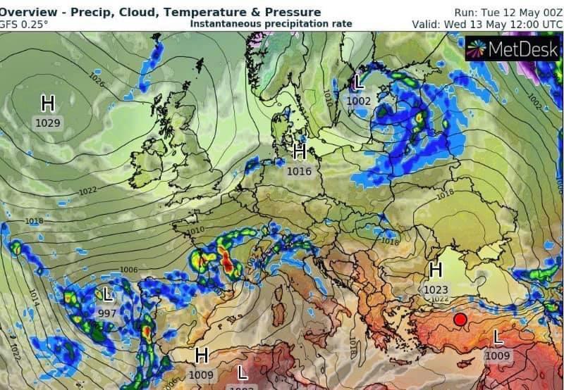 Карта погоды в Украины 13 мая