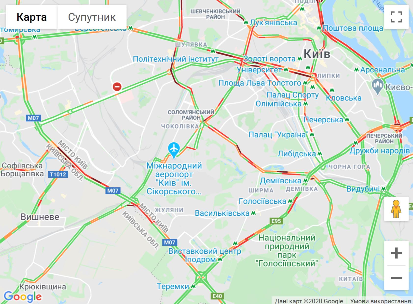 Карта заторів у Києві 14 травня