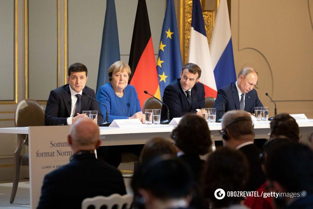 Володимир Зеленський, Ангела Меркель, Еммануель Макрон, Володимир Путін під час нормандської зустрічі 9 грудня 2019 року
