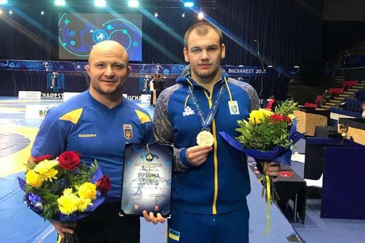 Богдан Грицай із тренером Олексієм Семенюшком