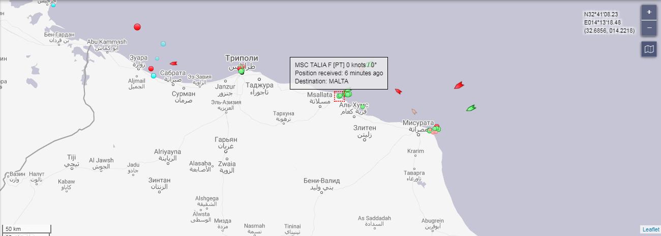Місцезнаходження судна на 24 травня