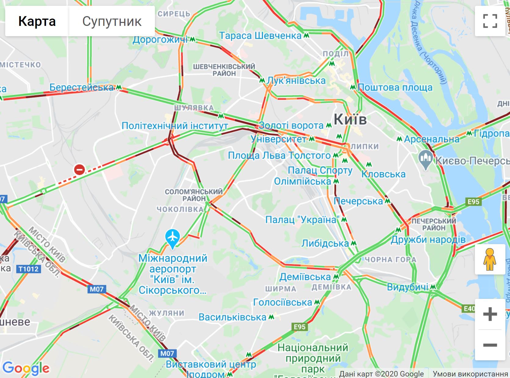 Пробки в Киеве 25 мая