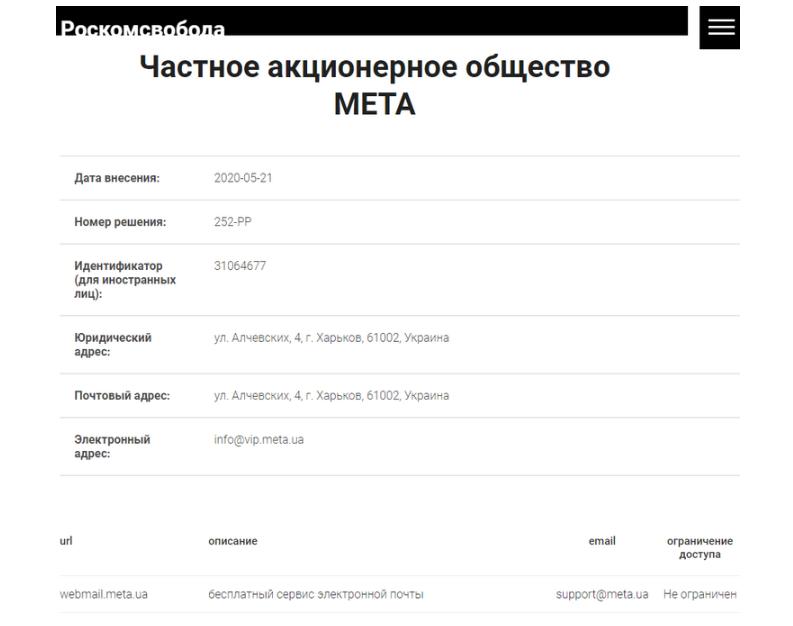 МЕТА внесли в российский реестр