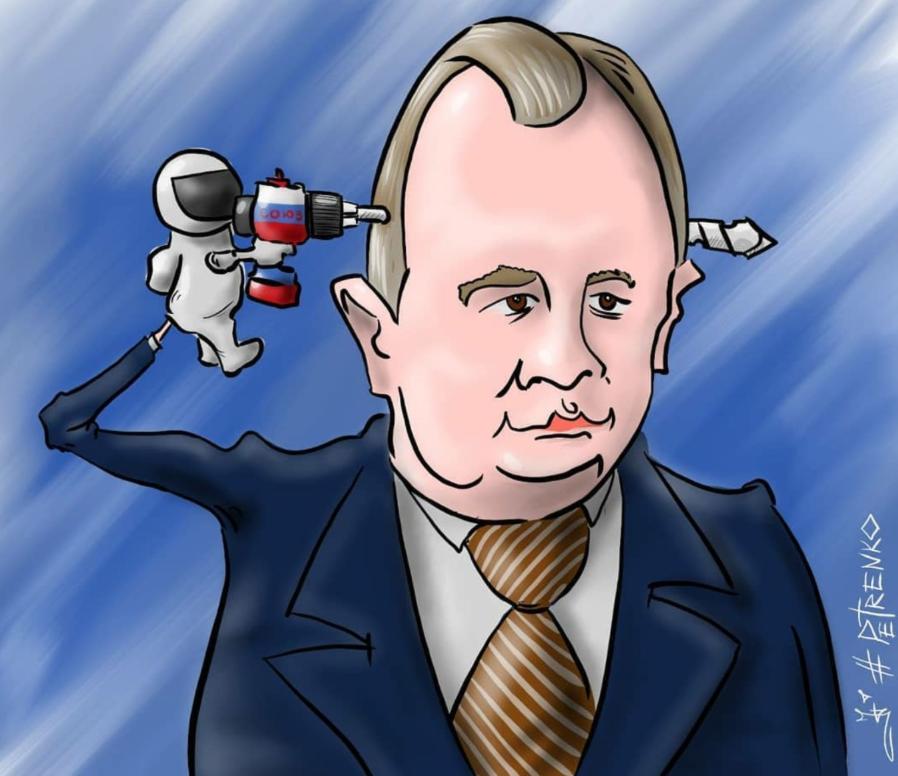 """Карикатура Андрея Петренко: """"Рогозин – через батут в космос"""""""