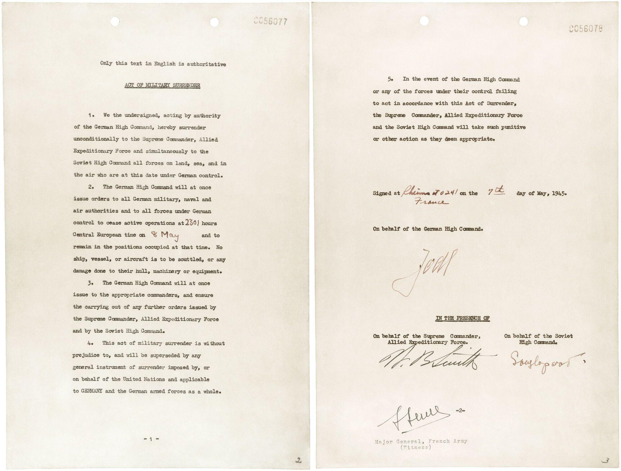 Акт про капітуляцію Німеччини / Джерело: ourdocuments.gov
