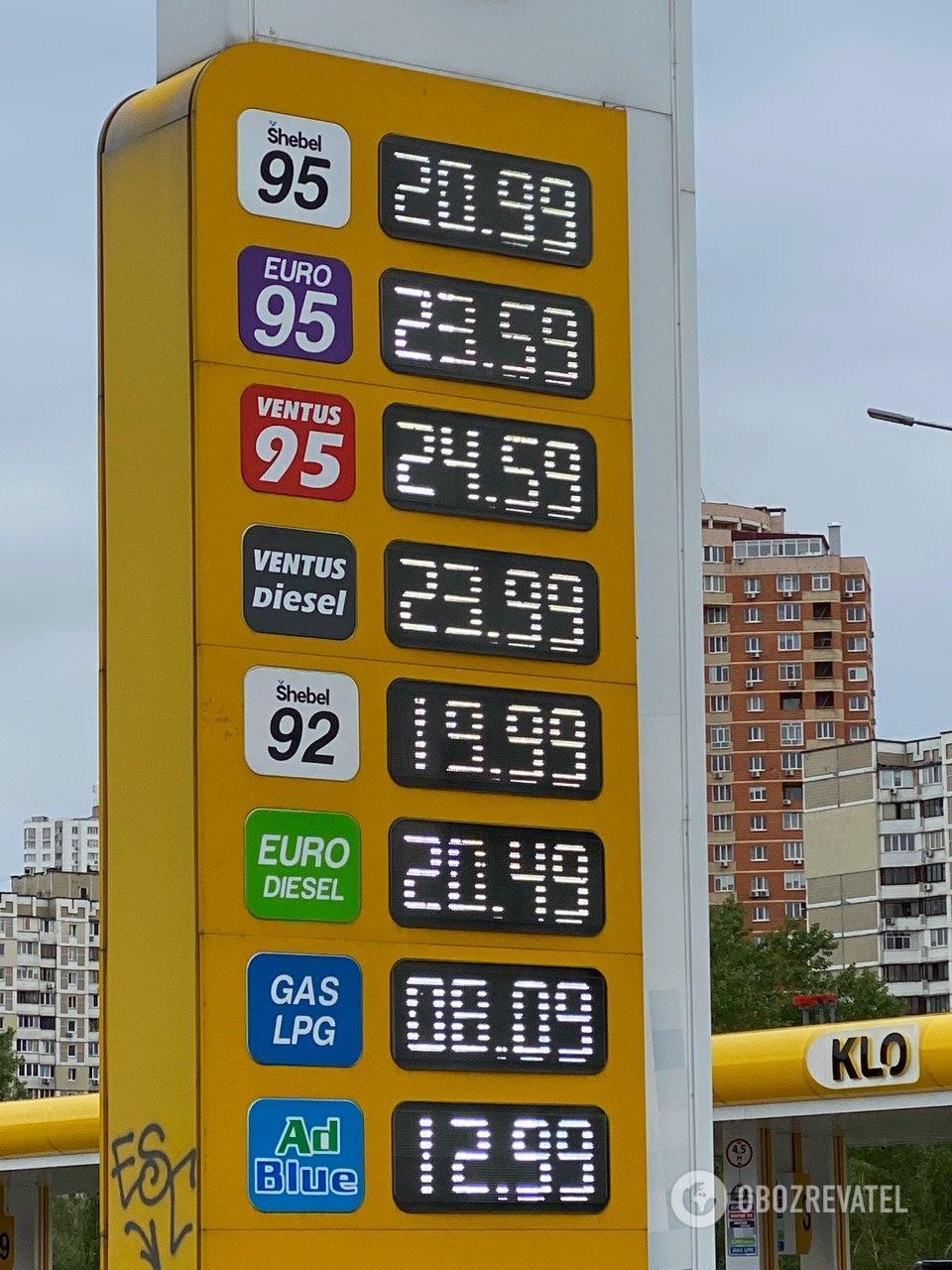 Стоимость топлива на АЗС