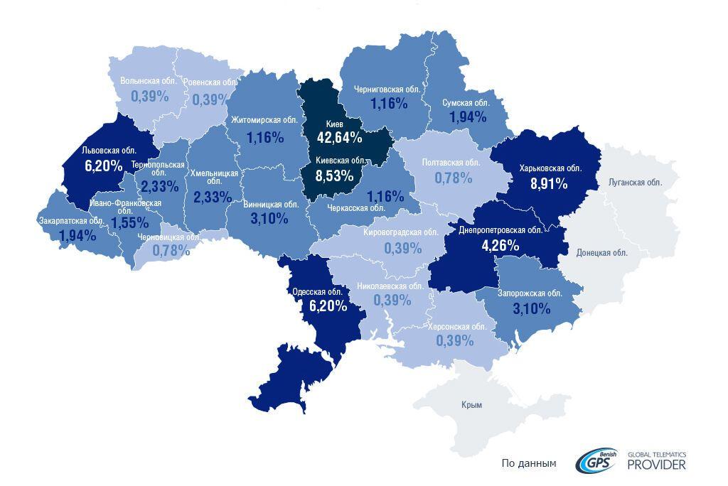 Рейтинг наиболее криминогенных регионов по угонам авто, 1 квартал 2020