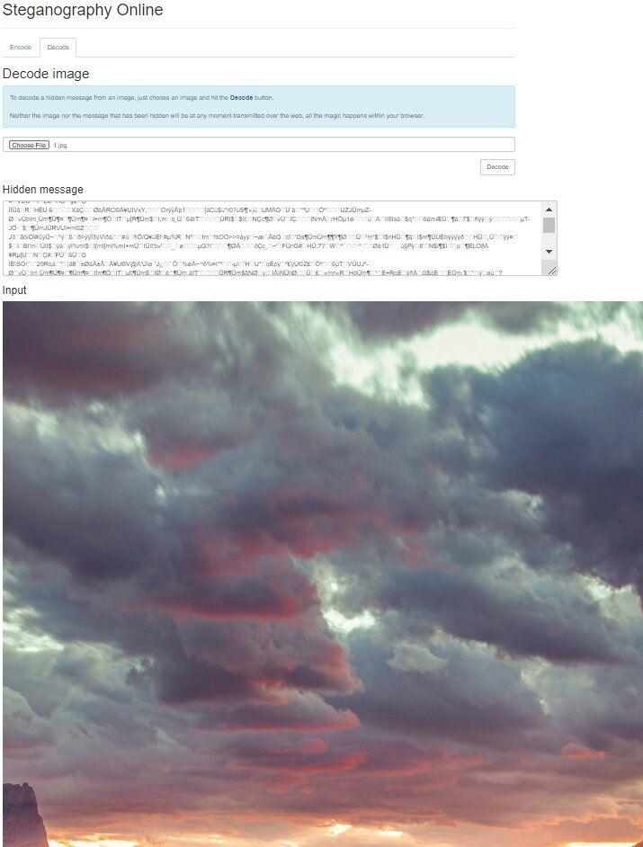 Прихований код в фото