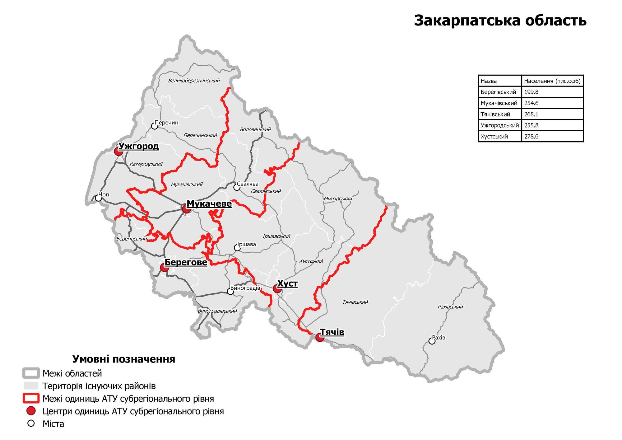 Образование новых районов на Закарпатье