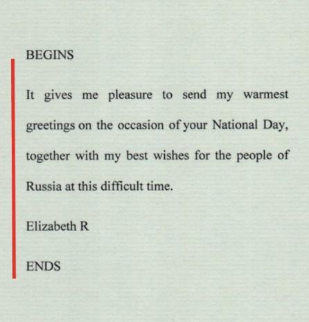 Послание королевы с поздравлениями в День РФ
