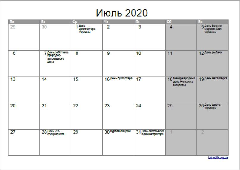 Июль 2020: выходные в Украине