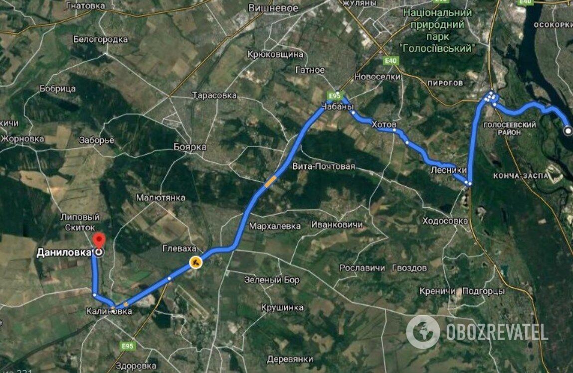 Дорога от в/ч на Жуков остров в Киеве