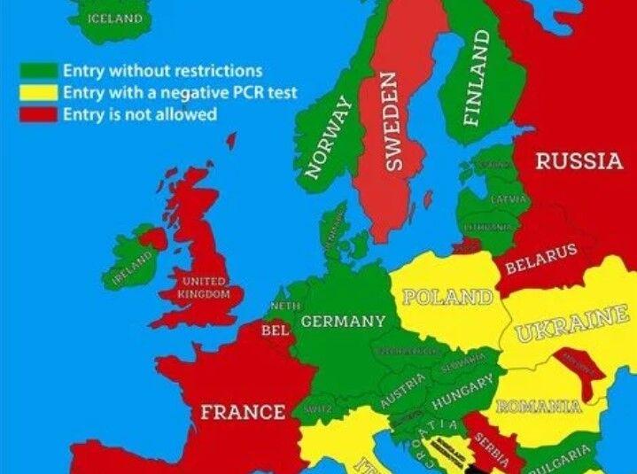 Чорногорія поділила країни на зони – червону, жовту і зелену