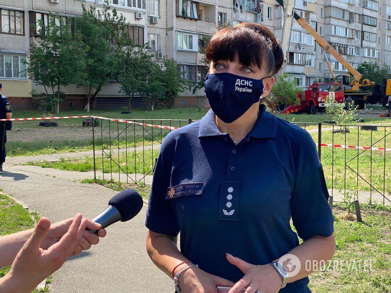 Пресс-секретарь ГУ ГСЧС Украины в городе Киеве Светлана Водолага дала комментарий о взрыве дома в столице
