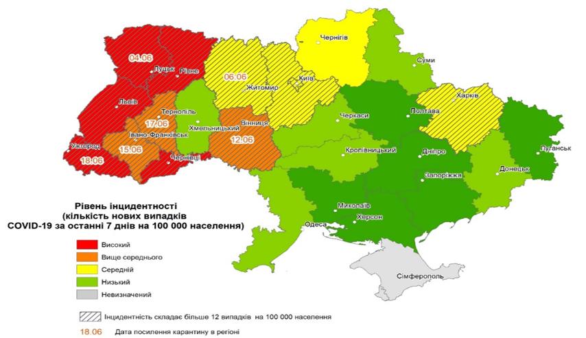 Рівень інцидентності в різних регіонах України