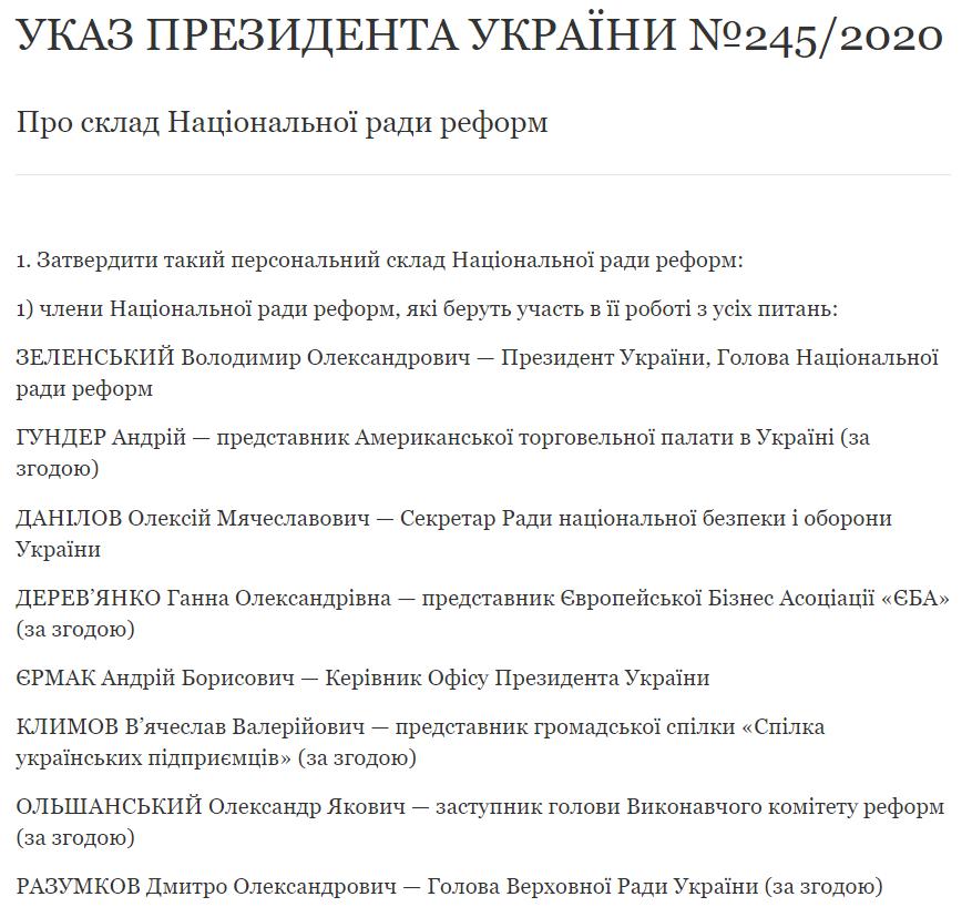 Зеленский утвердил персональный состав Национального совета реформ