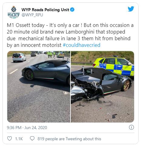 Lamborghini Huracan Performante уничтожили через 20 минут после покупки.