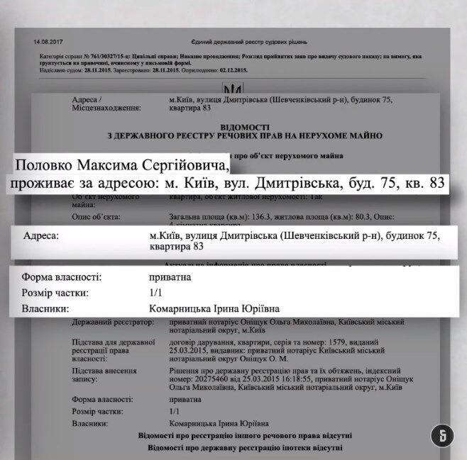 Половко проживав у квартирі, яка належить дружині Комарницького. Документ