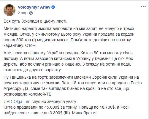 Продаж масок з України за кордон.