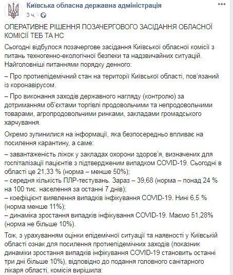 На Киевщине усилили ограничения из-за коронавируса