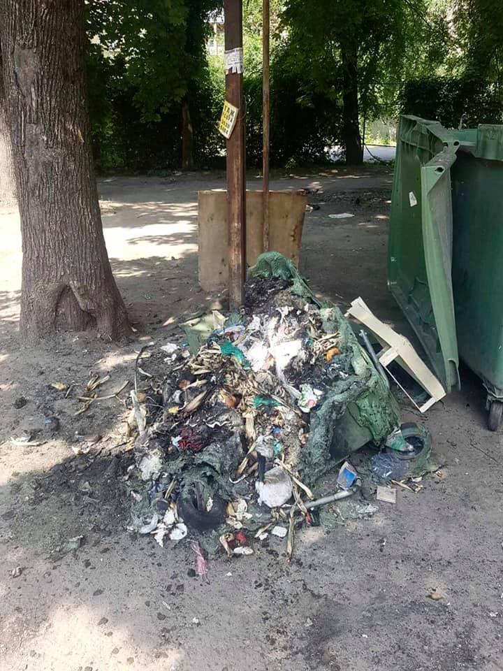 В Днепре вандалы уничтожают мусорные баки. Фото пресс-службы Департамента экологической политики