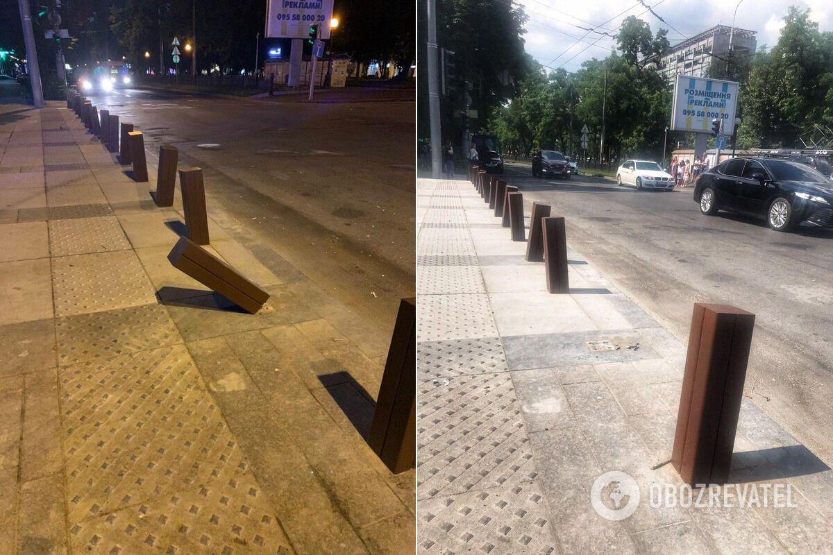 В Днепре на Короленко вандалы уничтожили новый антипарковочный столбик