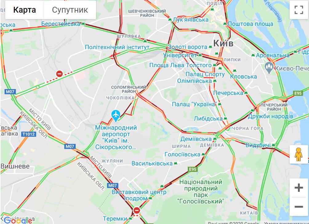 Затори у Києві 5 червня