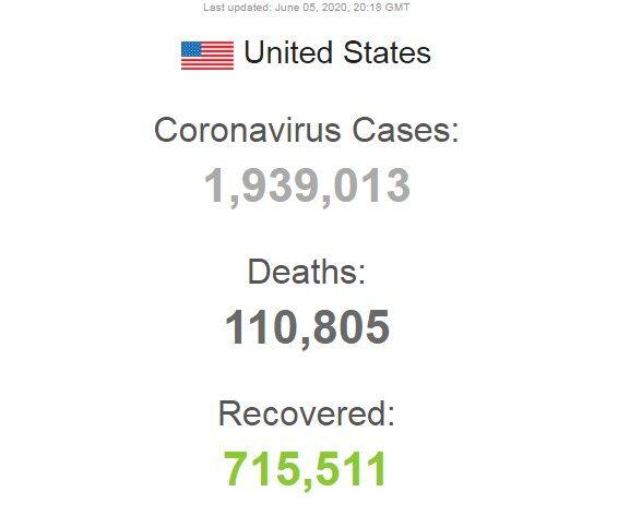 Дані щодо коронавірусу у США станом на 5 червня