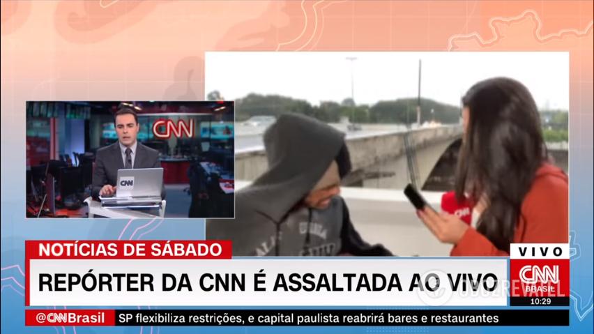 Бездомный ограбил телеведущую в прямом эфире