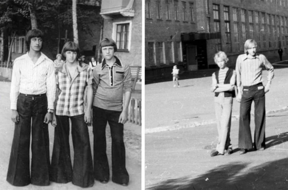 Как носили брюки-клеш. Фото back-in-ussr.com