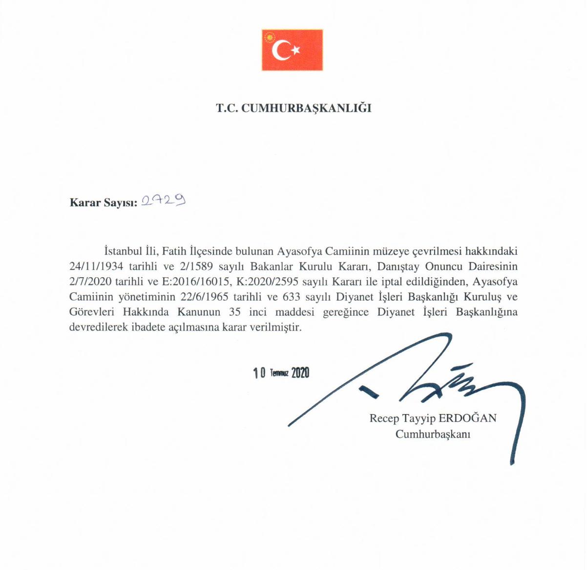 Ердоган підписав указ про перетворення собору на мечеть.