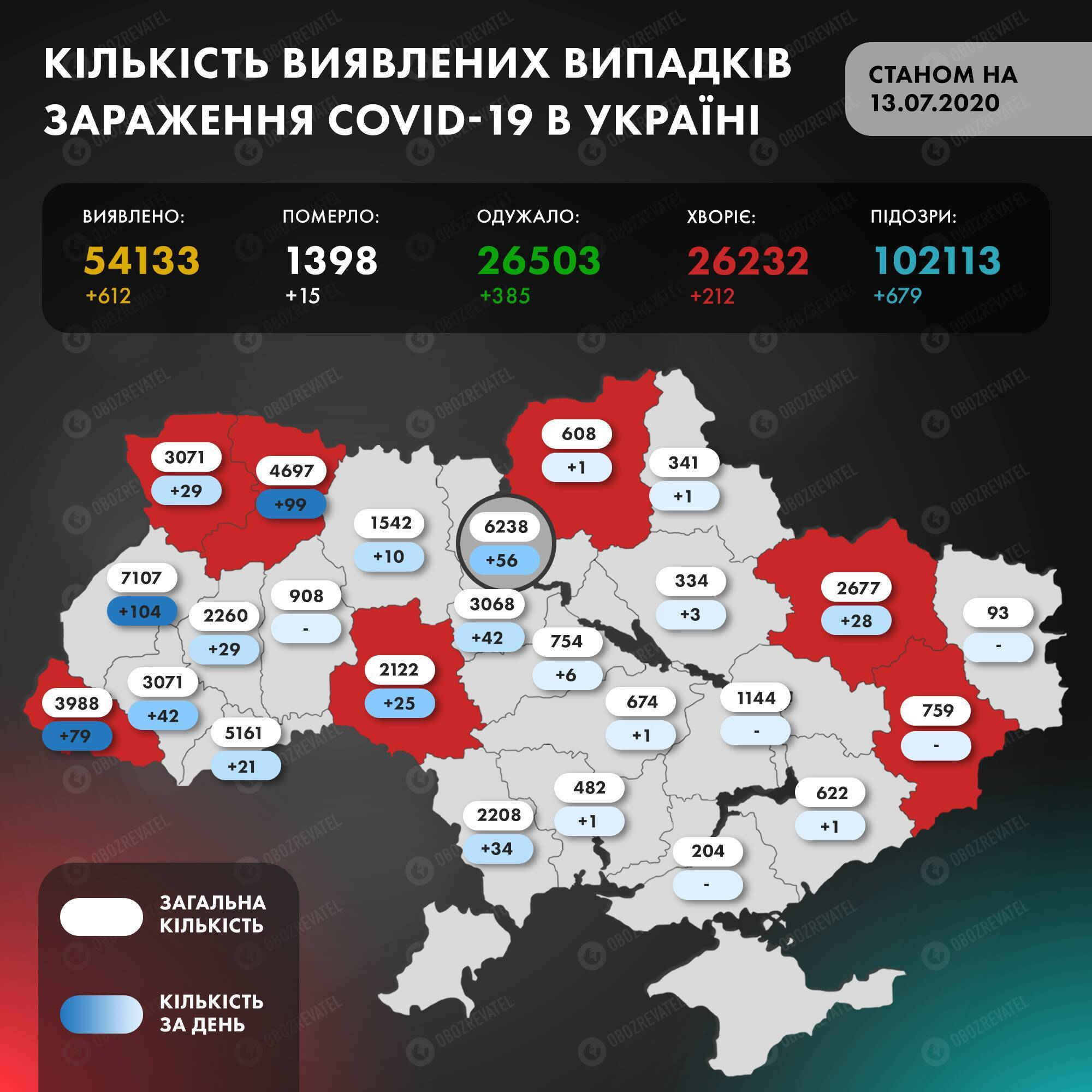 Кількість заражених коронавірусом в Україні