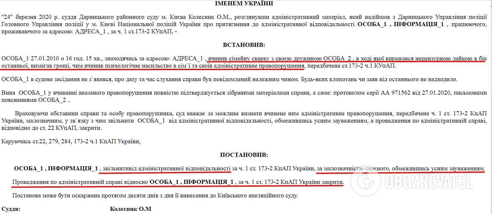 """У березні 2020 р. Дарницький районний суд Києва вирішив, що за фактом сімейного насильства """"фігуранту"""" досить усного зауваження"""
