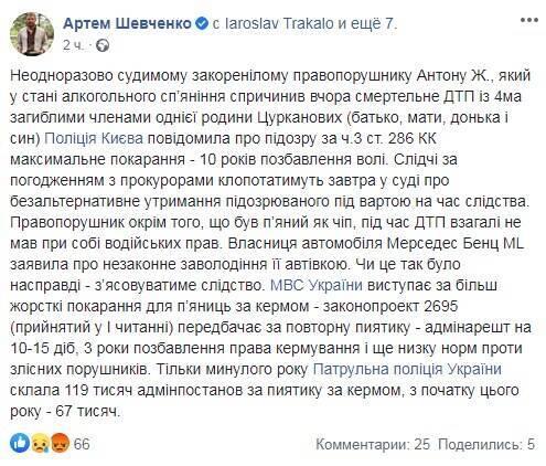 Facebook Артема Шевченка