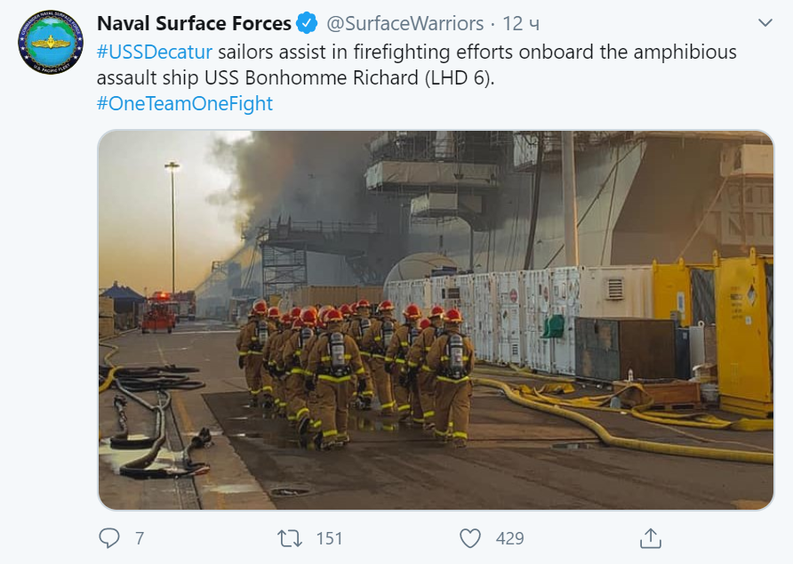 Пост Naval Surface Forces в Twitter