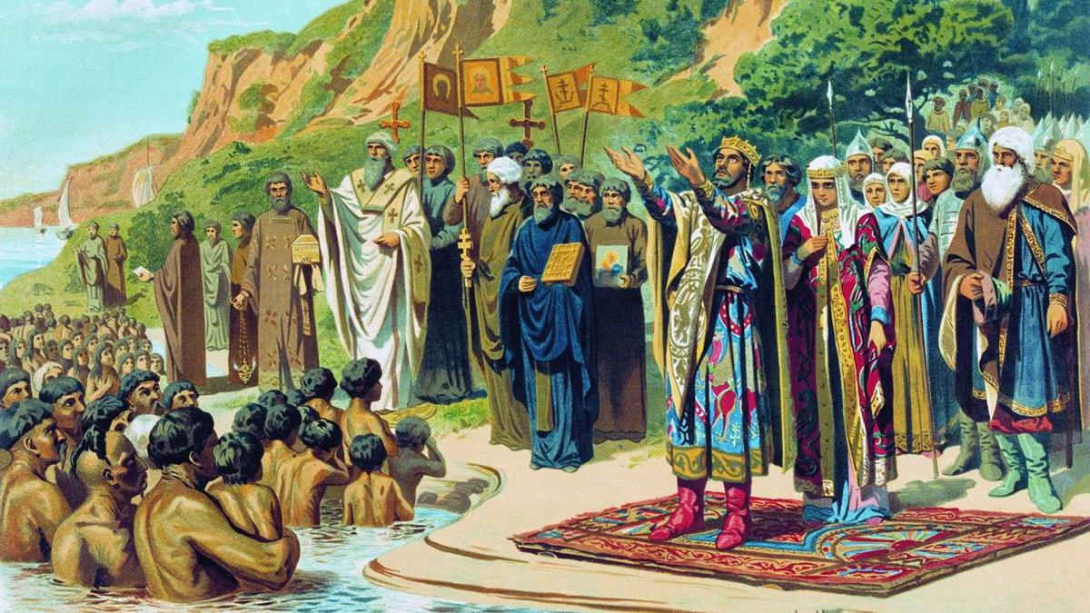 Ківшенко О. Д. Хрещення киян князем Володимиром. Фрагмент ілюстрації, 1880