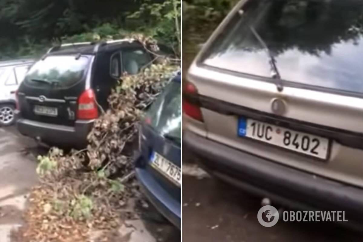 У некоторых авто сняты номера и детали
