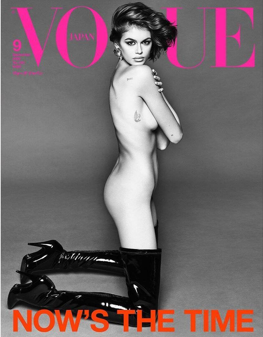 Кайя Гербер снялась обнаженной для обложки Vogue Japan (Instagram Луиджи Мурену)